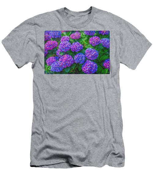 Men's T-Shirt (Slim Fit) featuring the photograph Blue Hydrangea by Hanny Heim