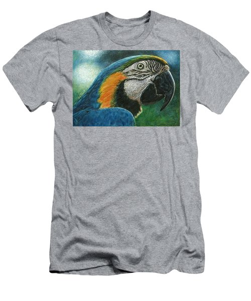 Men's T-Shirt (Slim Fit) featuring the drawing Blue Macaw by Sandra LaFaut