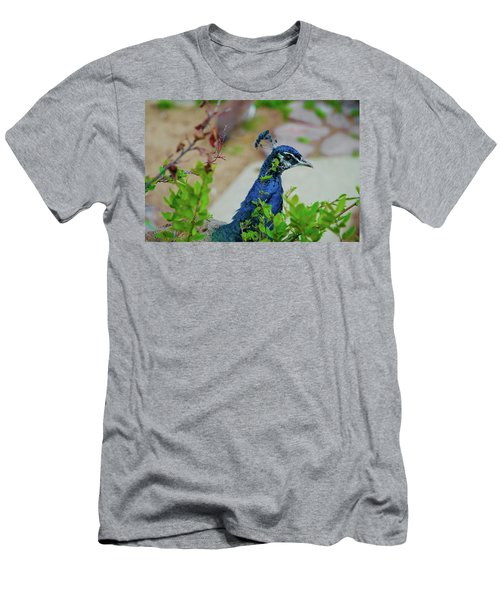 Blue Peacock Green Plants Men's T-Shirt (Slim Fit) by Jonah  Anderson