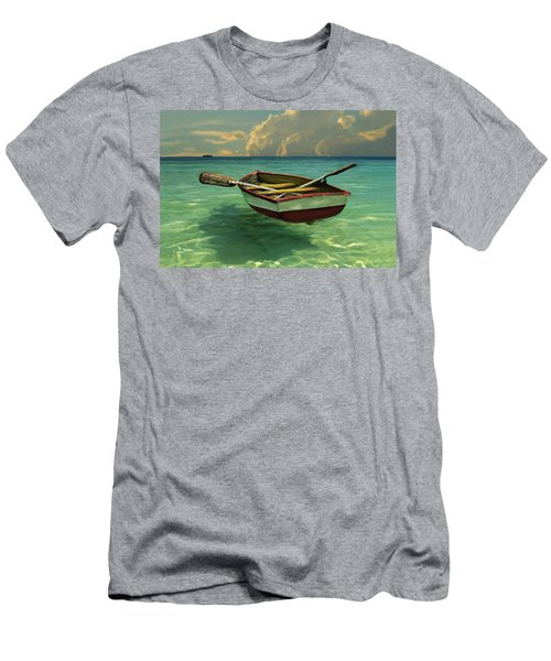 Boat In Clear Water Men's T-Shirt (Slim Fit) by David  Van Hulst