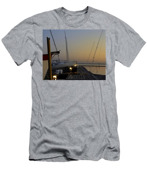 Boats Moored To Pier At Sunset Men's T-Shirt (Athletic Fit)