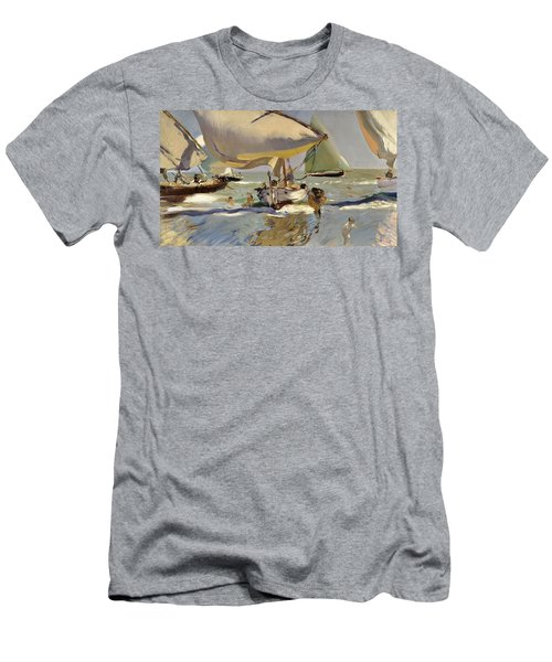 Boats On The Shore Men's T-Shirt (Slim Fit) by Joaquin Sorolla y Bastida