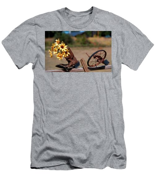 Boot With Flowers Men's T-Shirt (Athletic Fit)