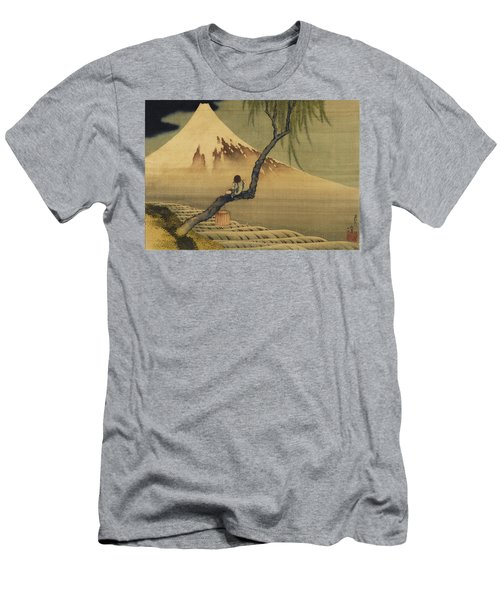 Boy Viewing Mount Fuji Men's T-Shirt (Slim Fit) by Katsushika Hokusai