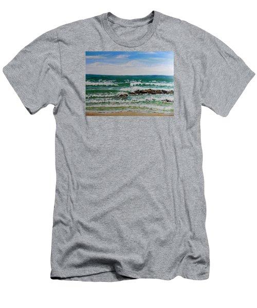 Breaking Waves Men's T-Shirt (Slim Fit) by Pamela  Meredith