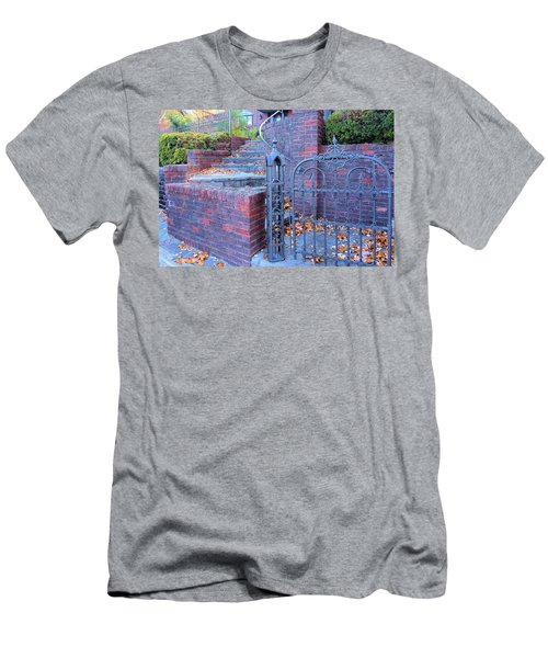 Men's T-Shirt (Slim Fit) featuring the photograph Brick Wall With Wrought Iron Gate by Janette Boyd