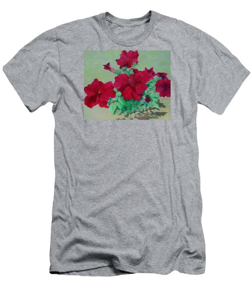 Red Flowers Art Brilliant Petunias Bright Floral  Men's T-Shirt (Slim Fit) by Elizabeth Sawyer