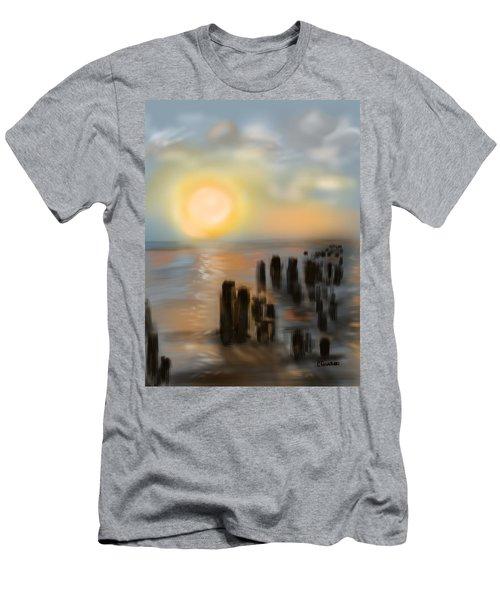 Men's T-Shirt (Slim Fit) featuring the digital art Broken Dock by Christine Fournier