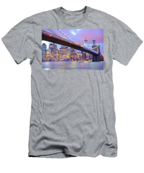 Brooklyn Bridge And New York City Skyscrapers Men's T-Shirt (Athletic Fit)
