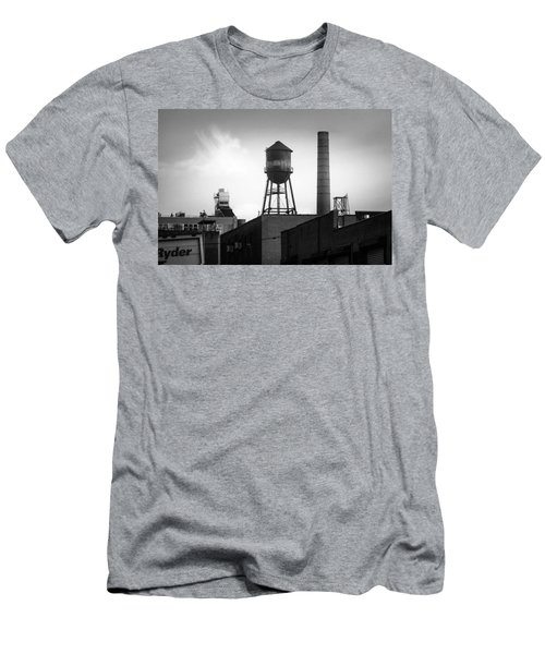 Men's T-Shirt (Slim Fit) featuring the photograph Brooklyn Water Tower And Smokestack - Black And White Industrial Chic by Gary Heller