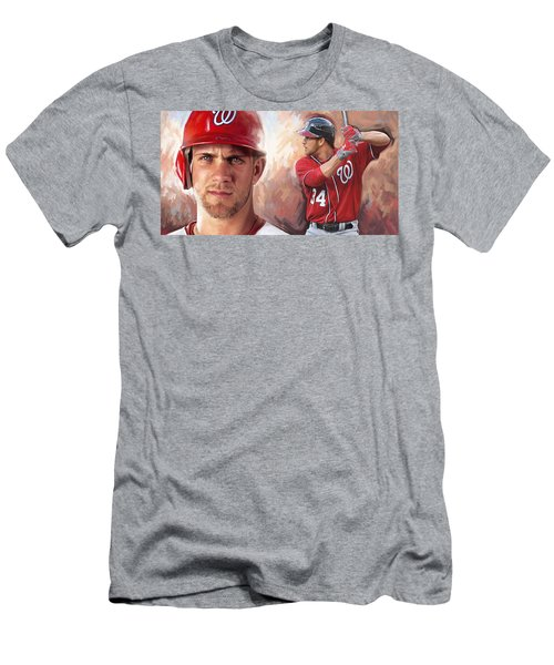 Men's T-Shirt (Slim Fit) featuring the painting Bryce Harper Artwork by Sheraz A