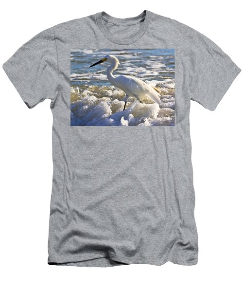 Bubbles Around Snowy Egret Men's T-Shirt (Athletic Fit)