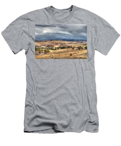 Men's T-Shirt (Slim Fit) featuring the photograph Buffalo Before The Storm by Bill Gabbert