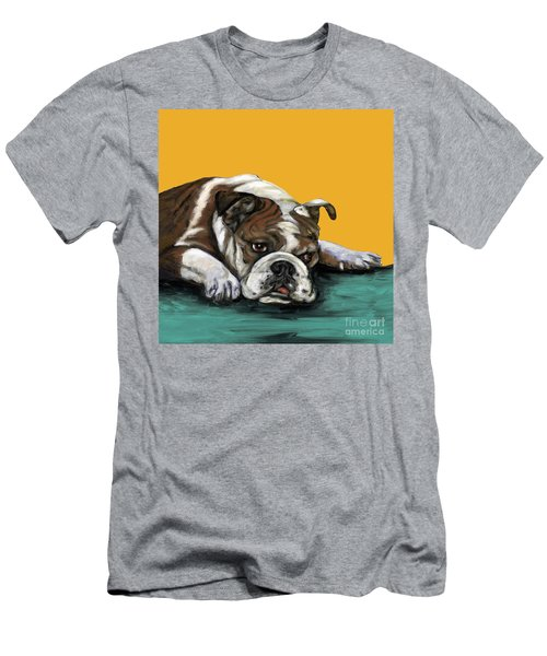 Bulldog On Yellow Men's T-Shirt (Athletic Fit)