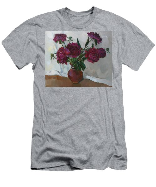 Burgundy Peonies Men's T-Shirt (Athletic Fit)