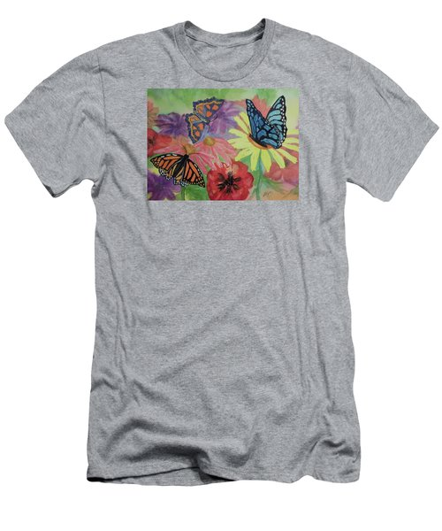 Men's T-Shirt (Slim Fit) featuring the painting Butterfly Garden by Ellen Levinson