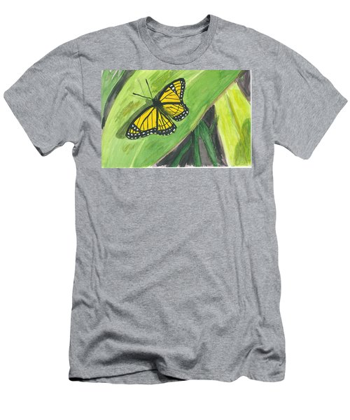 Men's T-Shirt (Slim Fit) featuring the painting Butterfly In Vermont Corn Field by Donna Walsh