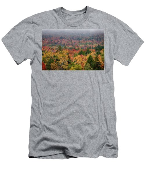 Cabin In Vermont Fall Colors Men's T-Shirt (Athletic Fit)