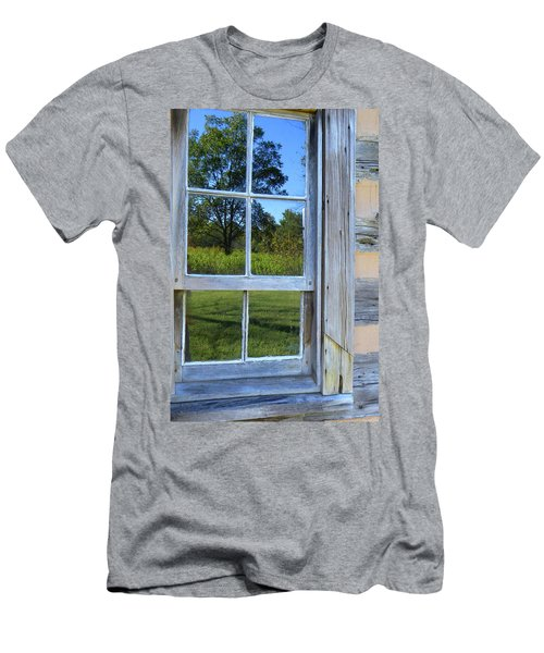 Men's T-Shirt (Slim Fit) featuring the photograph Cabin Reflections by Larry Bishop