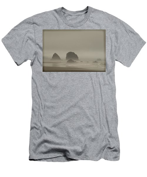 Men's T-Shirt (Slim Fit) featuring the photograph Cannon Beach In A Fog Oregon by Yulia Kazansky