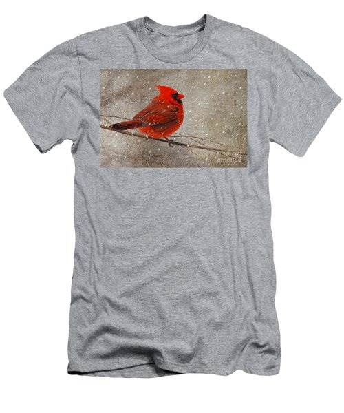 Cardinal In Snow Men's T-Shirt (Slim Fit) by Lois Bryan