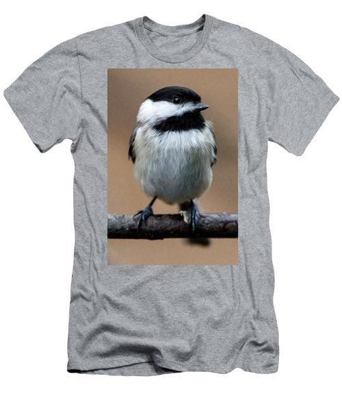 Men's T-Shirt (Slim Fit) featuring the painting Carolina Chickadee by John Haldane