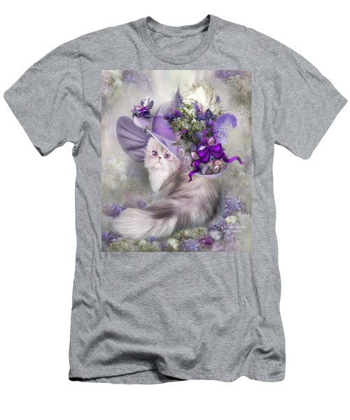 Men's T-Shirt (Athletic Fit) featuring the mixed media Cat In Easter Lilac Hat by Carol Cavalaris