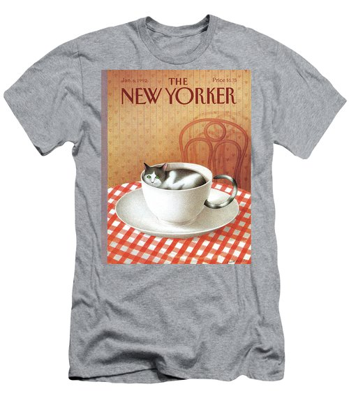 Cat Sits Inside A Coffee Cup Men's T-Shirt (Athletic Fit)