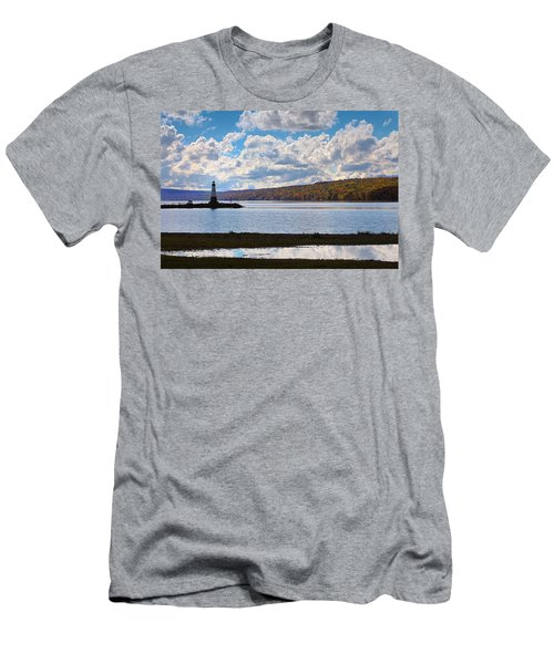 Men's T-Shirt (Slim Fit) featuring the photograph Cayuga Lake In Colorful Fall Ithaca New York IIi by Paul Ge