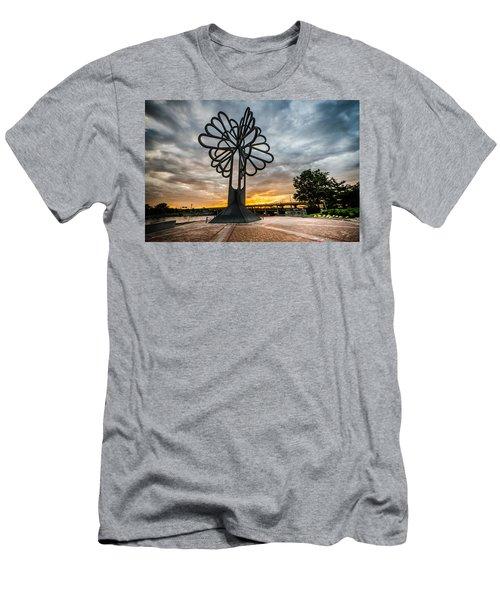 Cedar Rapids Five Seasons Tree At Sunset Men's T-Shirt (Athletic Fit)