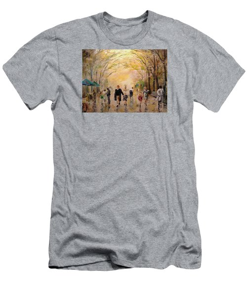 Men's T-Shirt (Slim Fit) featuring the painting Central Park Early Spring by Alan Lakin