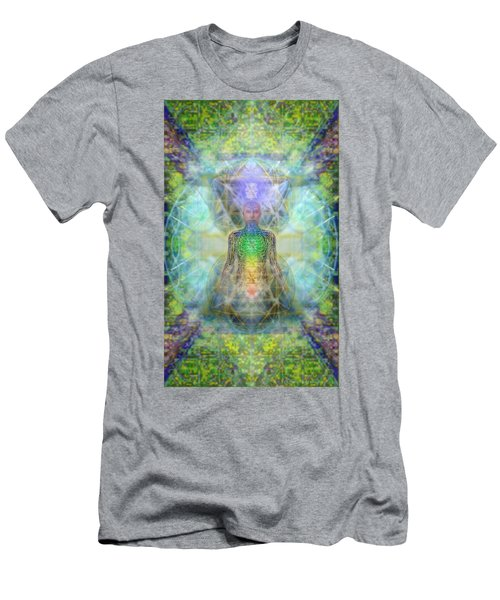Men's T-Shirt (Slim Fit) featuring the digital art Chakra Tree Anatomy In Chalice Garden by Christopher Pringer