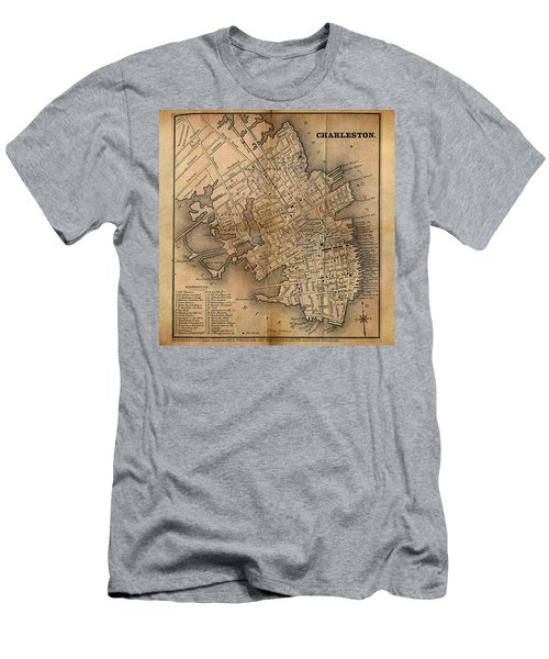Men's T-Shirt (Slim Fit) featuring the painting Charleston Vintage Map No. I by James Christopher Hill