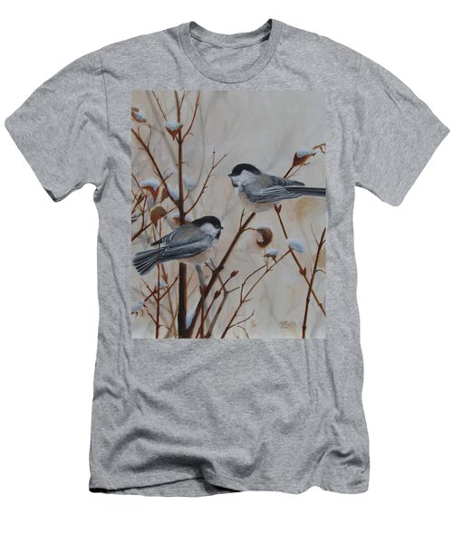 Men's T-Shirt (Athletic Fit) featuring the painting Chickadees by Tammy Taylor