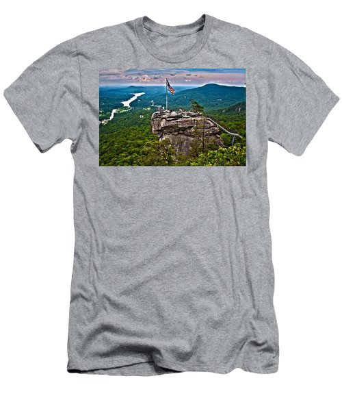 Men's T-Shirt (Slim Fit) featuring the photograph Chimney Rock At Lake Lure by Alex Grichenko
