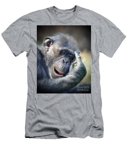 Men's T-Shirt (Slim Fit) featuring the photograph Chimpanzee Thinking by Savannah Gibbs