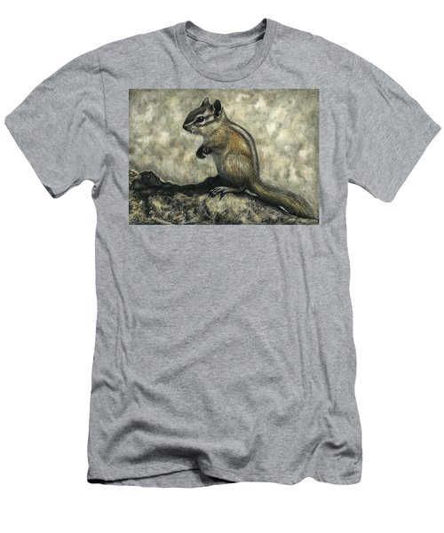 Men's T-Shirt (Slim Fit) featuring the drawing Chipmunk  by Sandra LaFaut