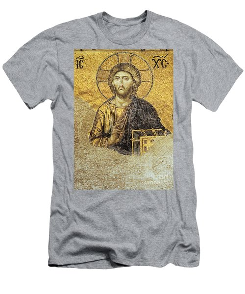 Christ Pantocrator-detail Of Deesis Mosaic Hagia Sophia-judgement Day Men's T-Shirt (Athletic Fit)