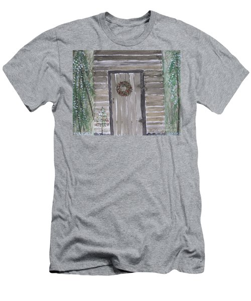 Christmas Card No.3 Rustic Cabin Men's T-Shirt (Athletic Fit)