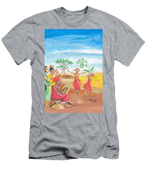 Men's T-Shirt (Slim Fit) featuring the painting Christmas In Rwanda by Emmanuel Baliyanga