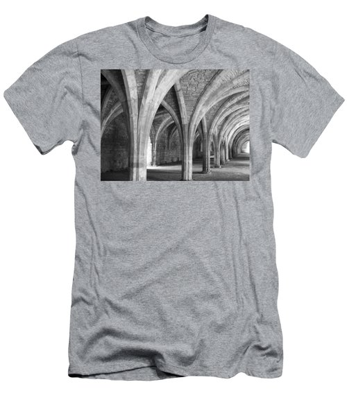 Men's T-Shirt (Athletic Fit) featuring the photograph Church Archways In Black And White by Susan Leonard