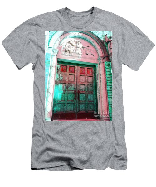 Men's T-Shirt (Slim Fit) featuring the photograph Church Door by Becky Lupe