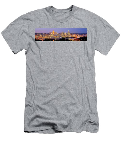 Cincinnati Skyline At Dusk Sunset Color Panorama Ohio Men's T-Shirt (Athletic Fit)