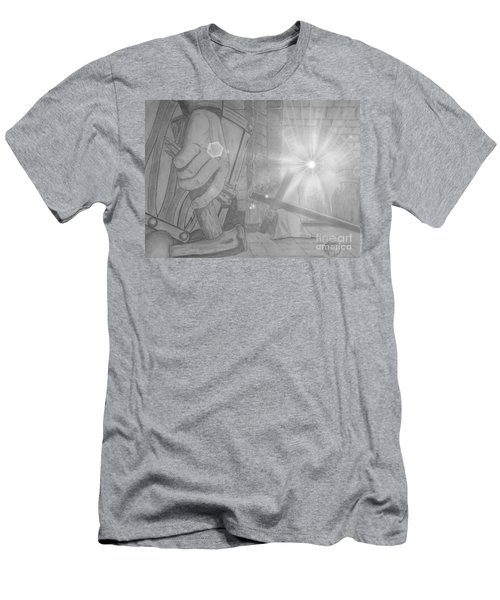 Men's T-Shirt (Slim Fit) featuring the drawing Clinging To The Cross Lights by Justin Moore