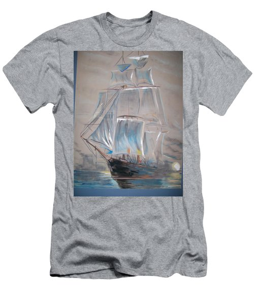 Men's T-Shirt (Slim Fit) featuring the mixed media Clipper In Mist by Peter Suhocke