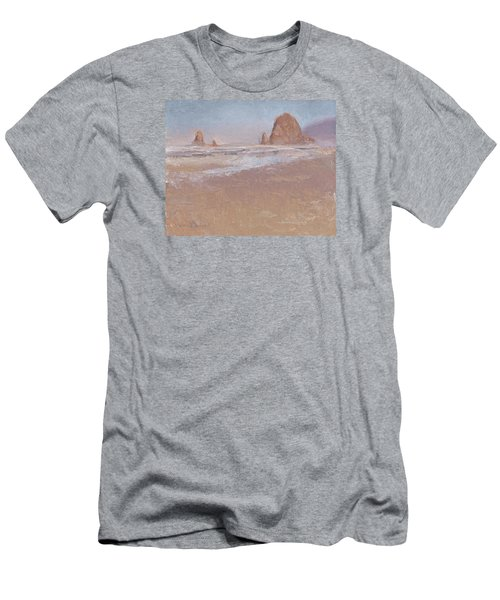 Coastal Escape  Cannon Beach Oregon And Haystack Rock  Men's T-Shirt (Slim Fit) by Karen Whitworth