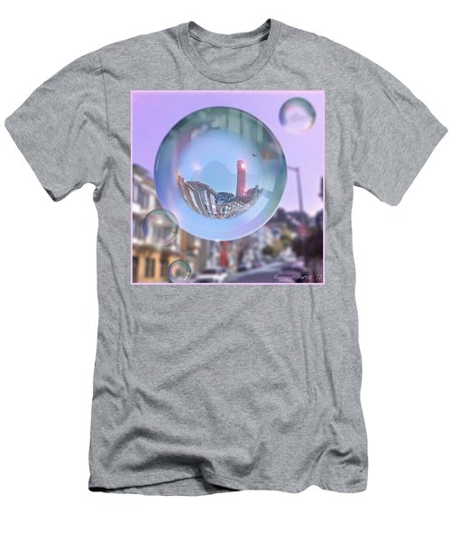 Coit Tower In A Bubble And Purple Sky Men's T-Shirt (Slim Fit)