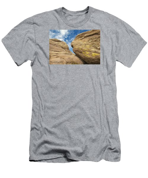 Men's T-Shirt (Slim Fit) featuring the painting Colby's Cliff by Bruce Nutting