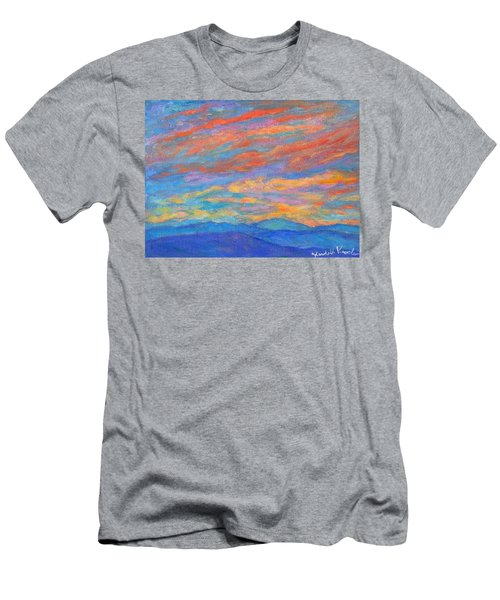 Men's T-Shirt (Athletic Fit) featuring the painting Color Ripples Over The Blue Ridge by Kendall Kessler