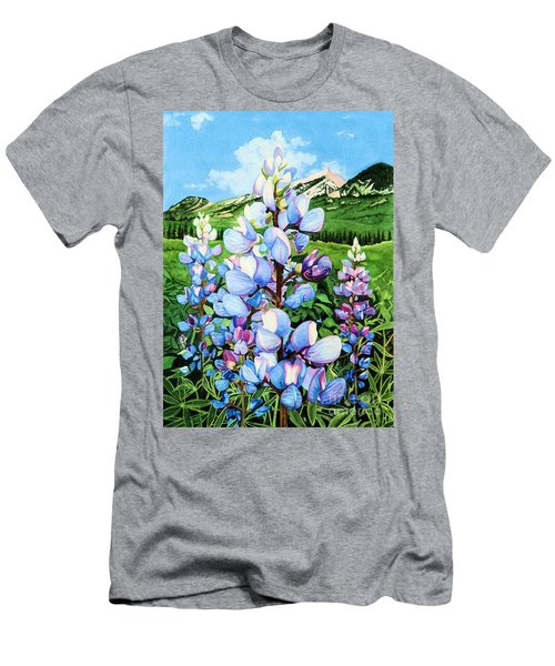 Men's T-Shirt (Slim Fit) featuring the painting Colorado Summer Blues by Barbara Jewell